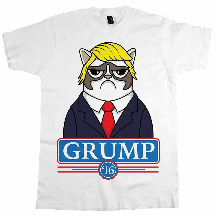 "Our new ""Grump '16"" (Donald Trump parody) t-shirt is going to be HUGE!  Whether you're a fan of adorably sad and grumpy cats or maybe even presidential candidat"