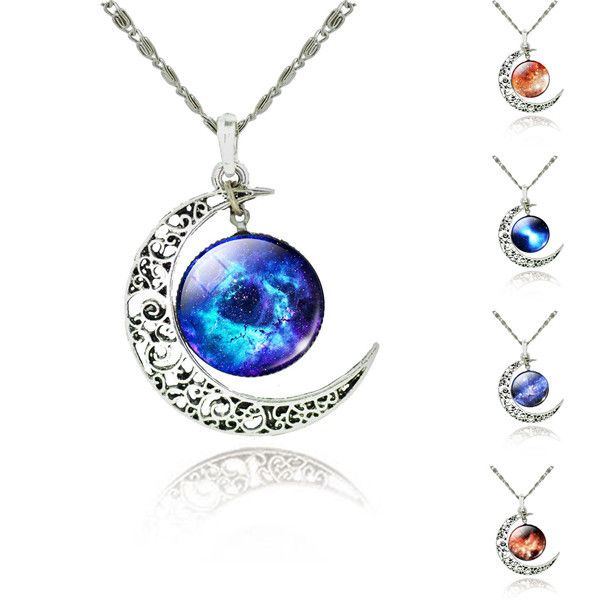 Pagan Wicca Silver Crescent Moon and Starry Sky Pendant necklace 2015 new necklace fashion jewelry