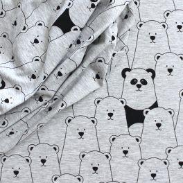Tissu jersey ours noir et gris
