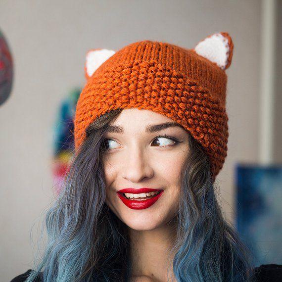 Knitted fox hat cat ears cap <b>red</b> fox beanie winter woman beanie Hat ...