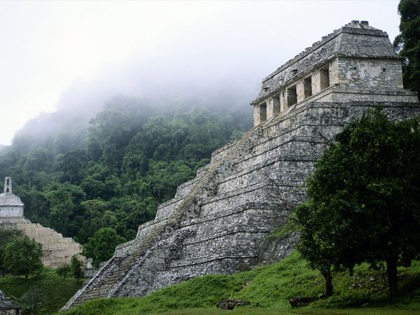 The Maya ruins of Palenque sit in the mist-shrouded jungles of eastern Mexico. The Temple of the Inscriptions, shown here, is the site's most impressive structure. Deep within the temple is an ornate, vaulted chamber containing the crypt of the ruler Pacal.