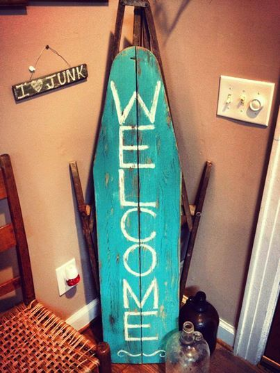 We had a couple of old wood ironing boards and decided to spice one up. Great for an entryway or covered porch. Used our chalkpaint recipe, distressed and waxed.