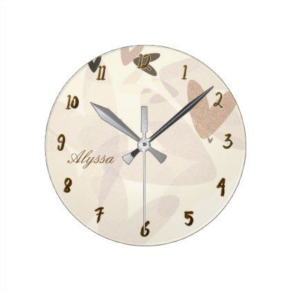 Muted Mod Hearts Whimsical Round Clock - rustic style country natural diy customize personalize