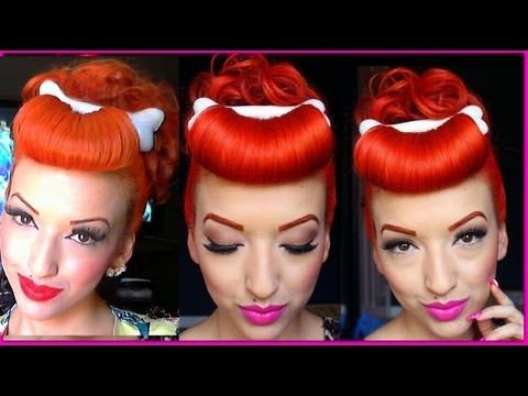 ▶ Pinup Vintage Pebbles Flintstone Hair Tutorial Updo Retro HD - YouTube