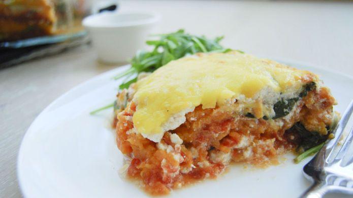 Vegetar lasagne med spinat, ricotta og søtpotet. Slank deg med kosemat - Vektklubb