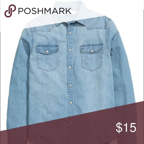 H and M denim shirt In great condition. The only reason im selling this is because I like my jackets to fit a little oversized and this doesn't. It's a size 4 but it can fit anyone who wears size 0-4.. gonna upload pictures of me wearing it soon! H&M Tops