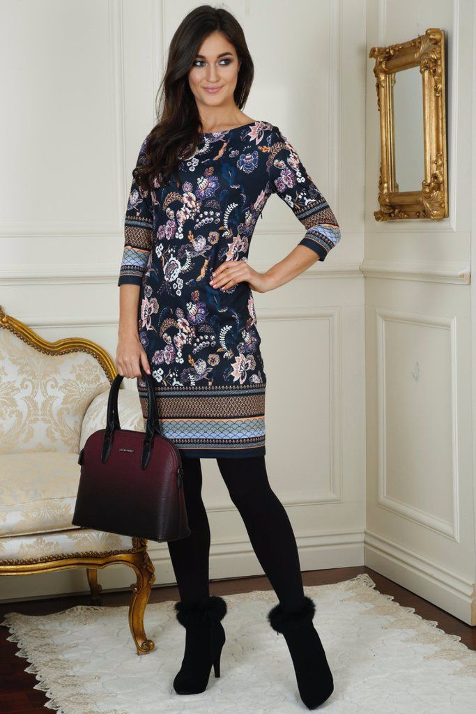 Lizzy Navy Tunic Print Dress