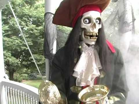 grandin road animated halloween skeleton pirate youtube - Pirate Halloween Decorations