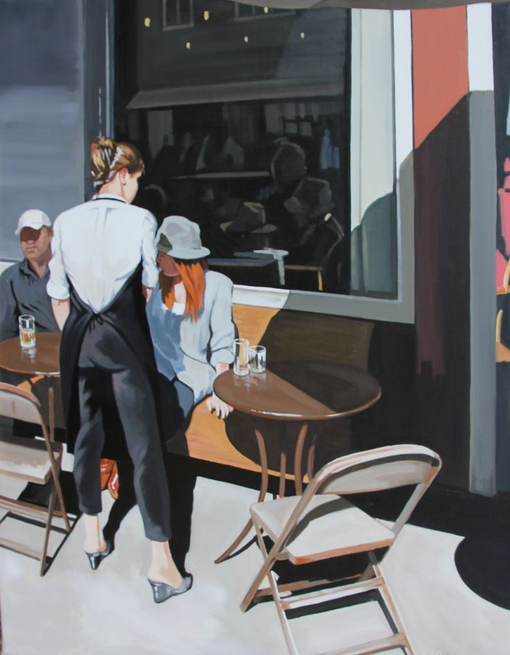La terrasse au soleil - Nicolas Odinet #terrasse #soleil #sun #people #waitress  #Odinet #peinture #oilpainting #art #Hopper #Light #fineart #artcontemporain #art #marciano #gallery #galerie #Paris #rivoli #FredericClad #THEFARM