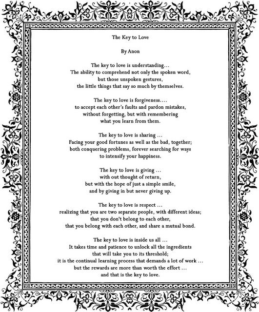 Potential poem for the church service? No longer potential - we had my brother read it on our 'big day' :o)