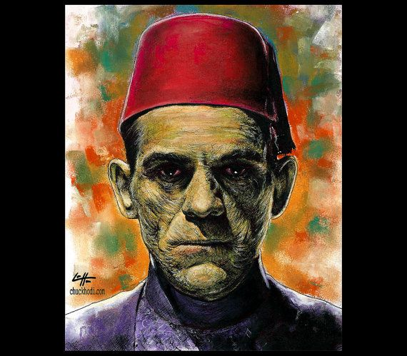 Print 8x10  Imhotep  The Mummy Frankenstein Portrait by chuckhodi