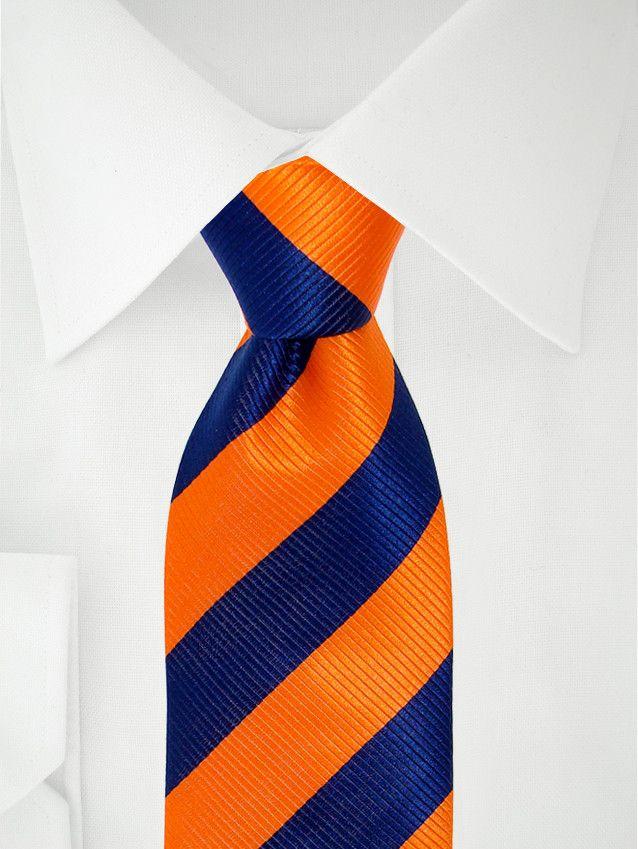 Cravate orange à bande bleu nuit