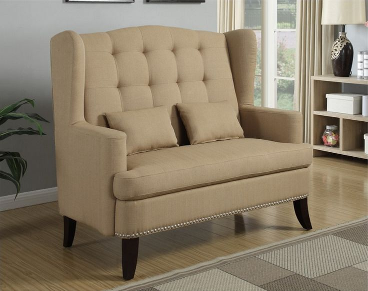 Mulan II collection stone blended linen fabric upholstered wing back tufted  style accent love chair with nail head accents63 best BULKEA   Living Room images on Pinterest   Living room  . Love Chairs Sofa. Home Design Ideas