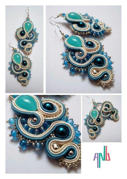 Handmade ANU Jewelry,  Soutache Earrings, blue