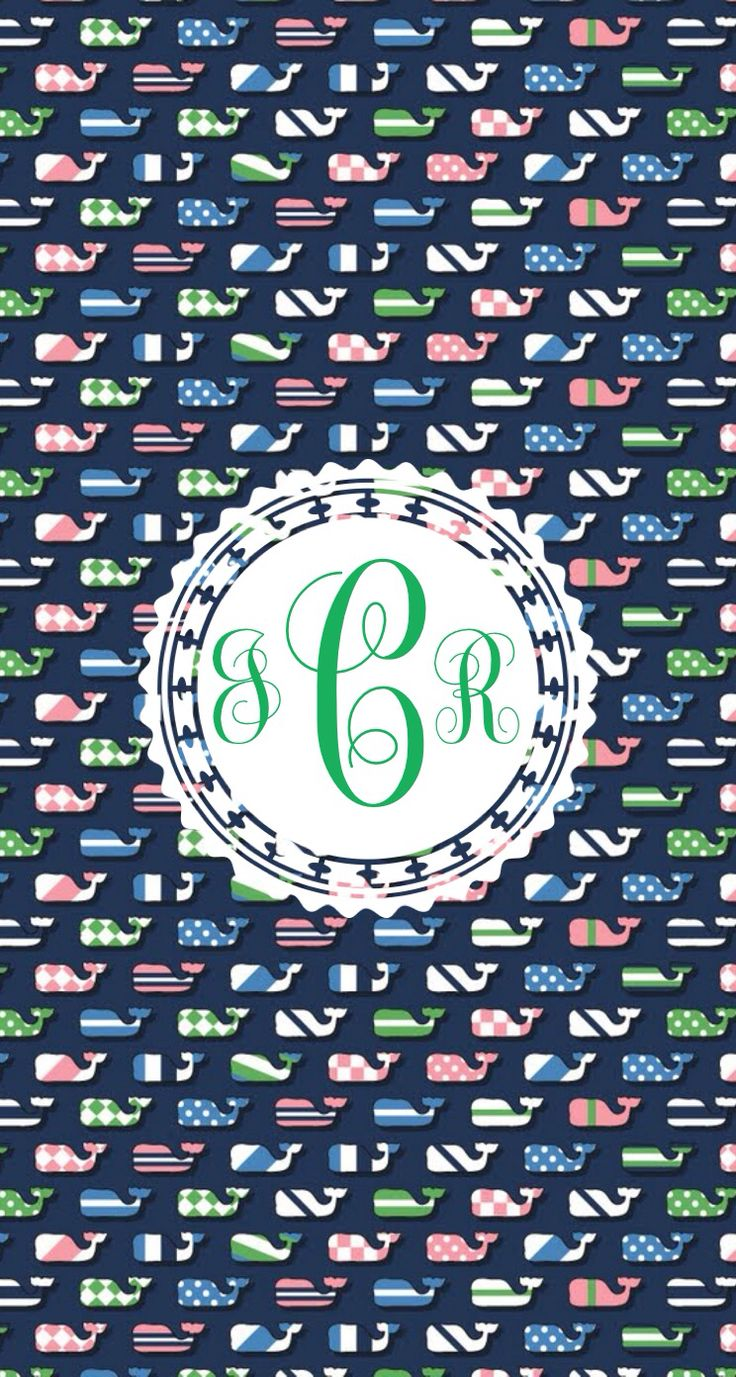 Vineyard Vines monogram wallpaper whales by Claire C. Made with @MonogramApp