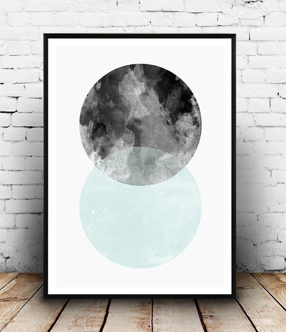 Watercolor print, scandinavian design, minimalist art, modern wall art, home decor, turqouise art, minimalist print, abstract poster, simple