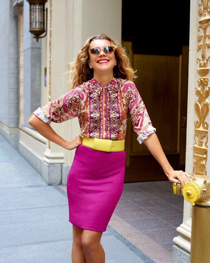 Pin & Win! Super style. Think pink #nataliejoos #talesofendearment #macysfallstyle #sunnyleigh #blouse #skirt BUY NOW!: Colors Macysfallstyl, Color Blocking, Colors Blocks, Style File