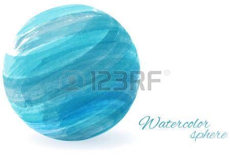 水彩画 宇宙: 抽象的な水彩画模倣水色の球 - 概念の抽象的な背景