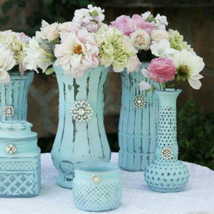Paint vases/jars add some bling and voila...lovely new flower containers