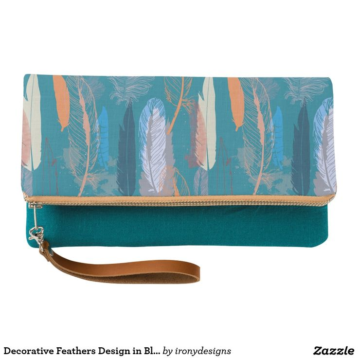 Decorative Feathers Design in Blue Clutch Decorative design of Feathers as a Pattern done in vector to give a nice clean look, done in different shades of blue and orange. A lush and elegant teal, Biscay Bay splashes up against more heated tones with its cool touch.