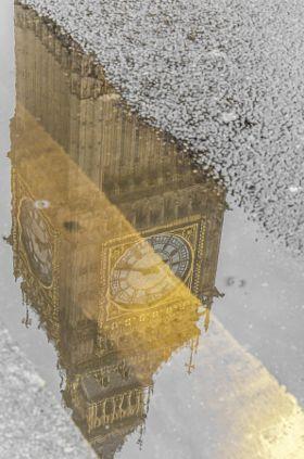 Big Ben reflection - stock photo