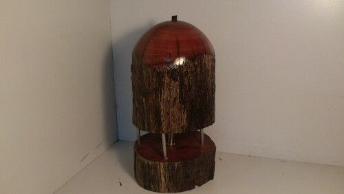 Red gum lamp with stainless steel inserts