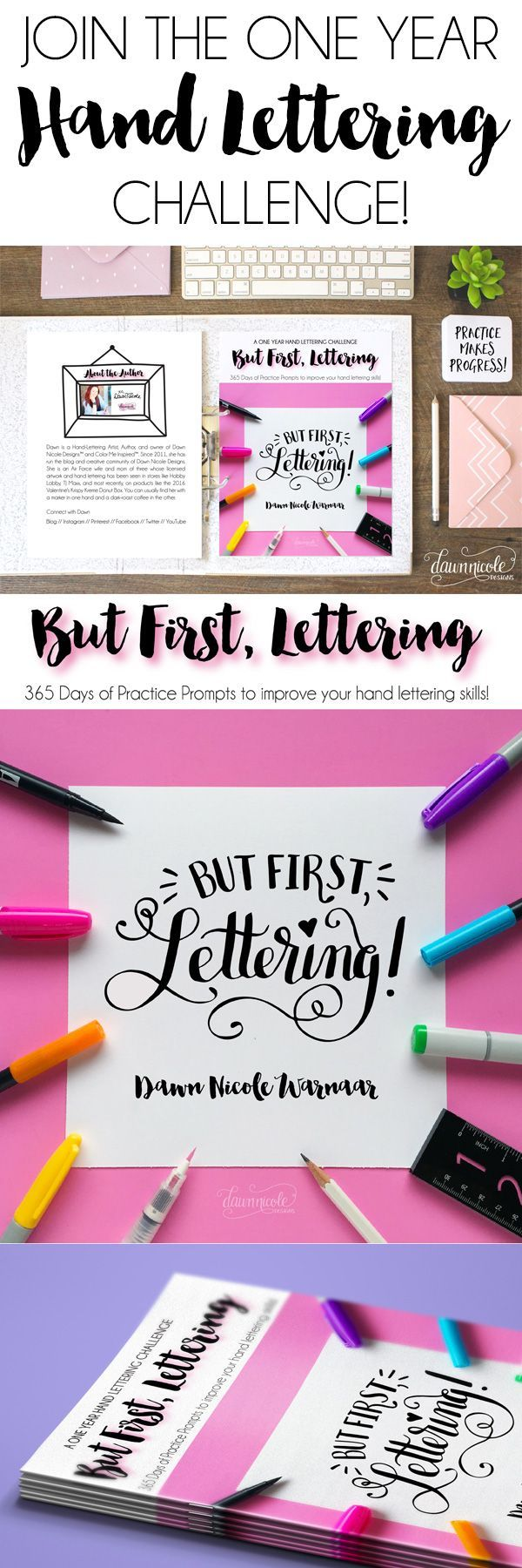 """But First, Lettering: A One Year Hand Lettering Challenge. 365 Days of Prompts to eliminate the """"What should I letter?"""" part out of practicing! 