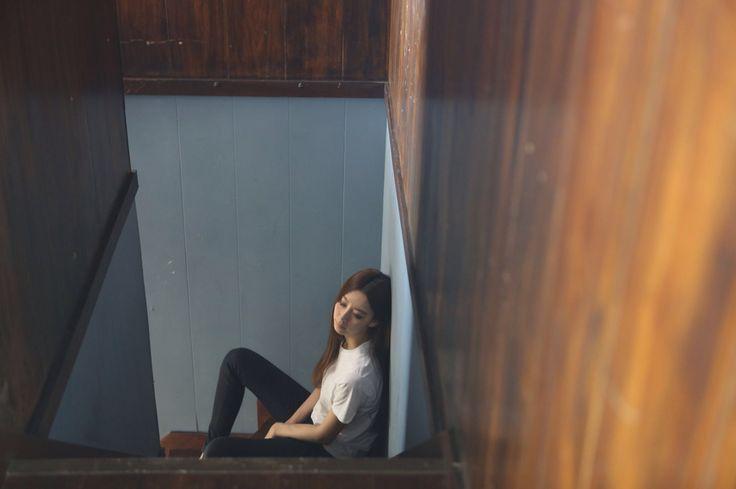 On the stairs.at boncote photo studio