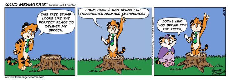 Like and Share everywhere! #wildmenagerie #wildmenageriecomic #comicstrip #comics #comic #funnies #dailyart #art #Sidney #Nana #tiger #endangered  #environment #conservation #treestump #speech #speakforthetrees #cute #kawai #oc #handdrawn #ink #webcomic #color #vanessakcompton #vanessakcomptonart #January2018 #HopefulFor