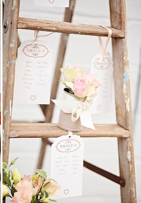 "Rustic wedding idea: use a paint-spattered ladder as escort card ""table.""..fiona clair photography Durban, South Africa"