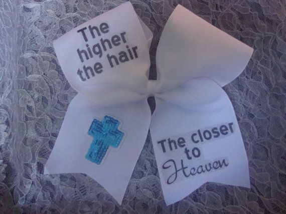 Cheer Bow White 3in w/ The higher the hair by MommyandMeGoodies, $10.00