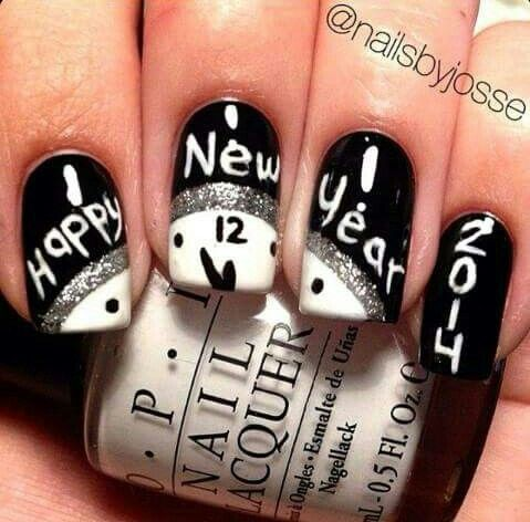 21 best new year nail art images on pinterest christmas nails black and white new year nail art design prinsesfo Image collections