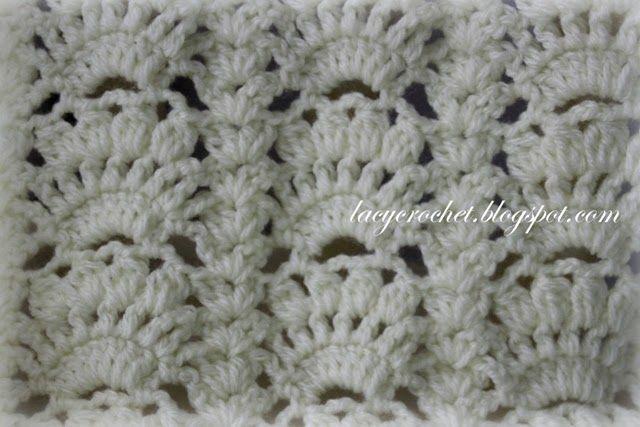Lacy Crochet: Conchas Fancy Patrón bebé Afganistán gratuito