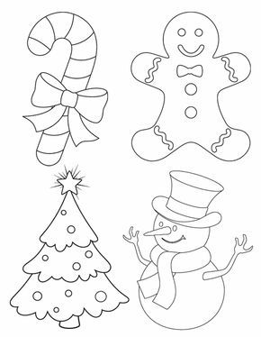 Dibujos para colorear: árbol, muñeco de nieve, galleta y caramelo