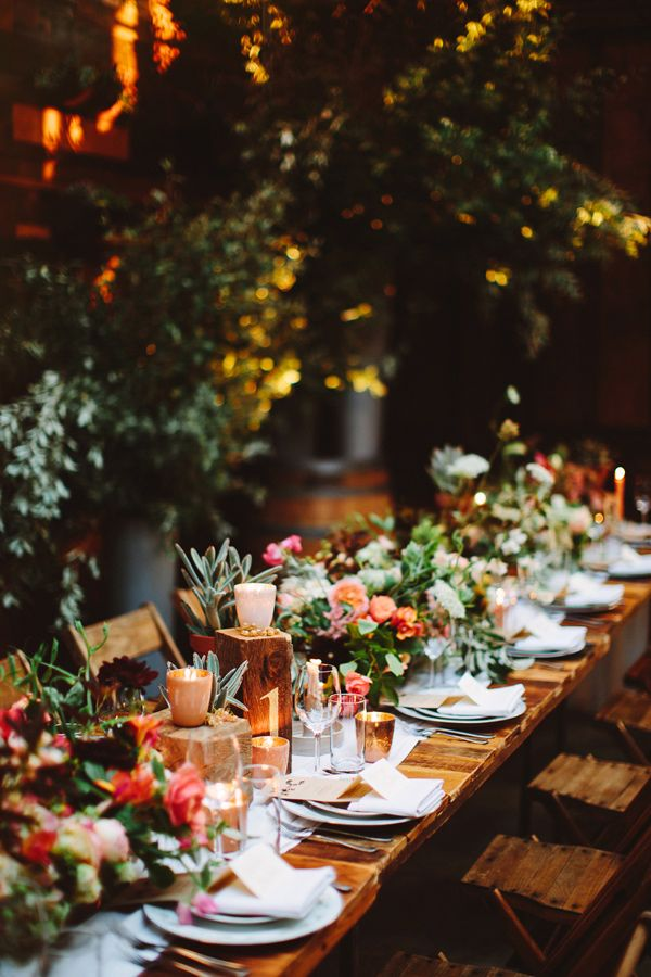 garden wedding indoors, photo by Pat Furey http://ruffledblog.com/brooklyn-wedding-with-breathtaking-floral-design #botanical #weddingreception