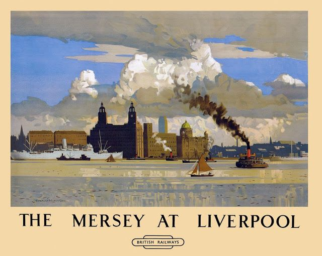 Norman Wilkinson (1878-1971) - The Mersey at Liverpool