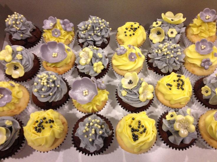 Yellow Silver White Wedding Cakes