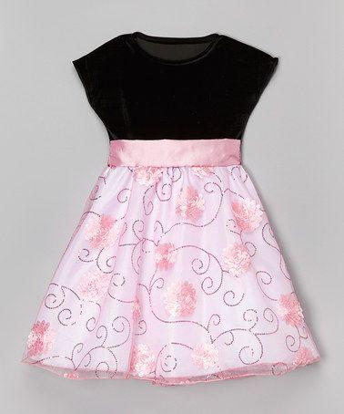 Pink & Black Floral Sequin Dress - Infant, Toddler & Girls #zulily #zulilyfinds