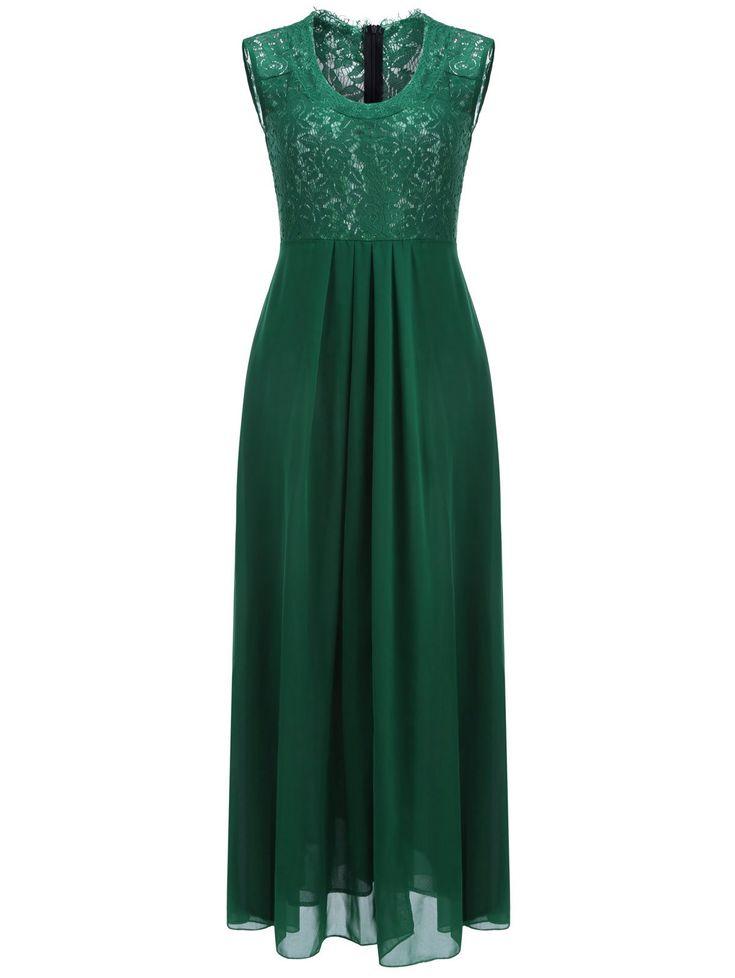 Lace Panel Sleeveless Maxi Prom Dress - GREEN M
