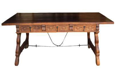 Early 1900's Spanish Farmhouse Iron Trestle Carved Desk on Chairish.com