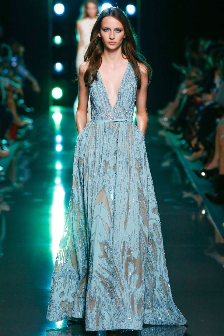 Elie Saab, Spring 2015, Paris. I'm seeing a lot of ice blue and soft gray blue on these spring runways. A LOT. Soft blush pink/beige too.
