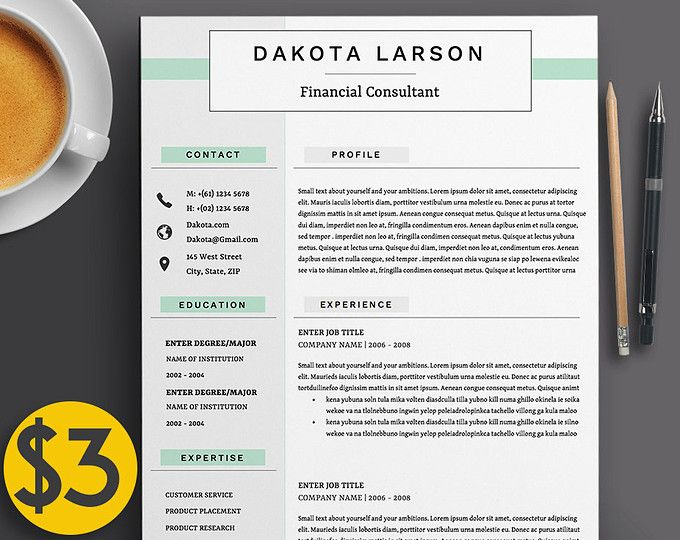 "Professional 4 Page Resume Template / CV, Cover Letter A4 & US Letter + References | The ""Dakota"" 