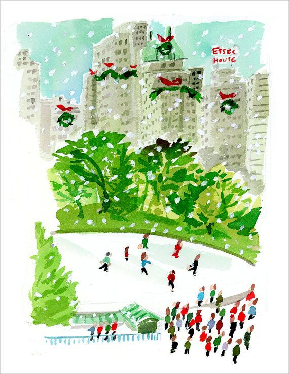 Christmas in Central Park: Set of Illustrated Christmas Cards
