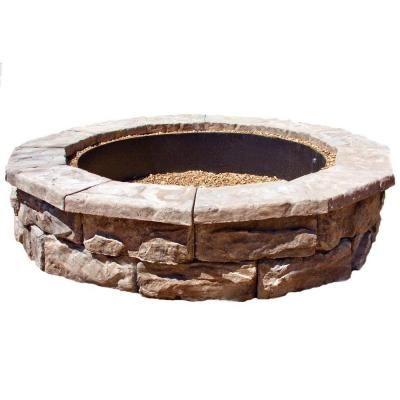 fossill brown round fire pit kit - Round Fire Pit