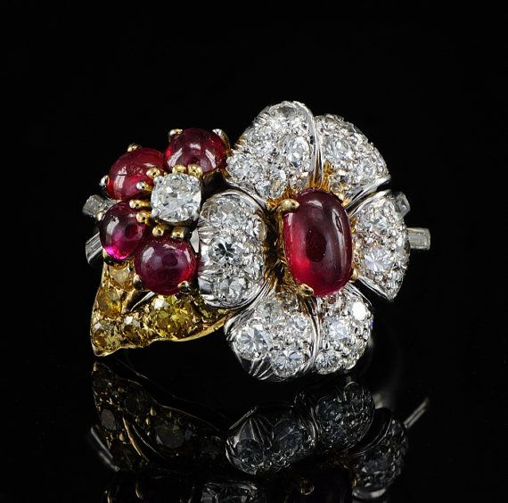 Platinum ruby and diamond design ring by hawkantiques on Etsy