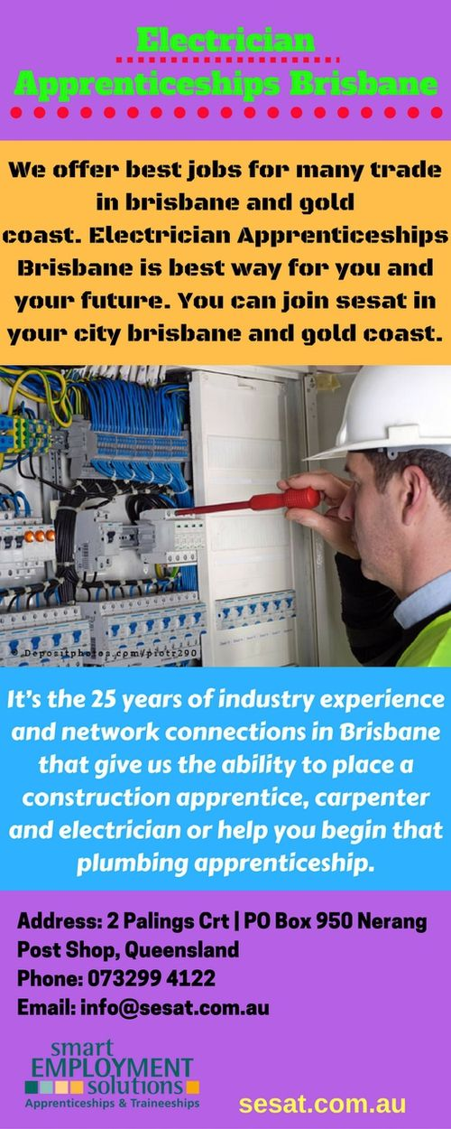 Electrician Apprenticeships Brisbane | Many Trades http://www.sesat.com.au/apprenticeships-and-traineeships/become/brisbane/ Now, select our jobs for electrician apprenticeships brisbane in australia. We provide best service in brisbane and gold coast.