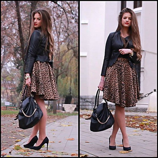 Famevogue casual luxe outfit made up of animal print #skirt #leatherjacket and a few fab #accessories...Items available at www.famevogue.ro.  #street #style #fashion #ootd