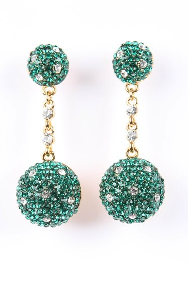 Emerald Green Ball Earrings