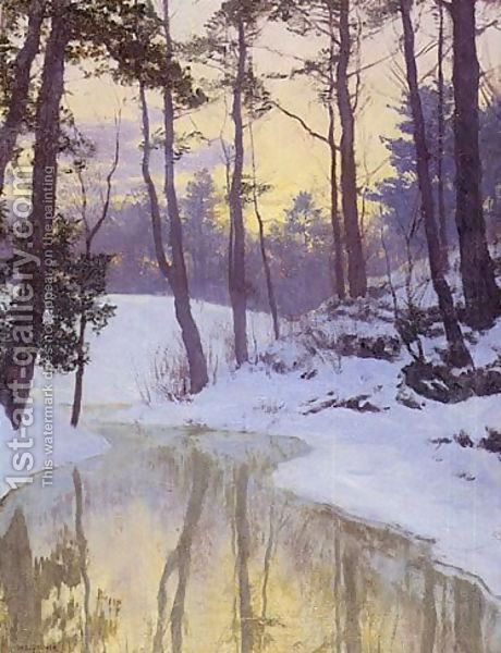 Walter Launt Palmer - American (1854 - 1932), Impressionist, Landscape Artist (water, snow, ice, trees, river, forest, wood, winter)