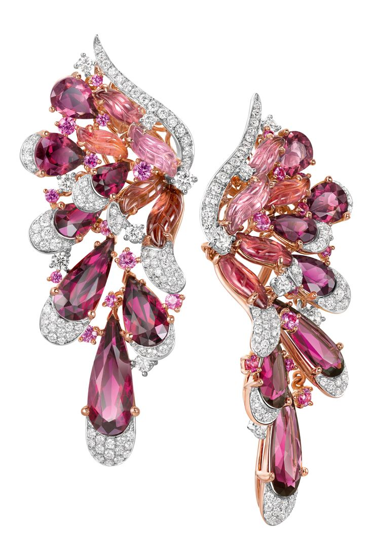 The-Flamiongo-Rough earrings in 18k rose and white gold with pink sapphires, diamonds and red tourmalines by Chow Tai Fook.
